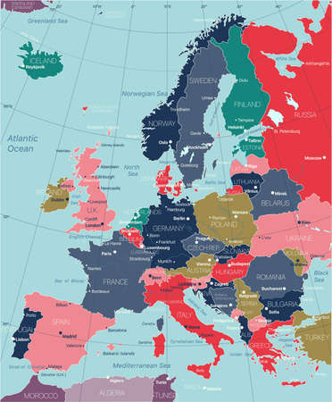 Europe detailed editable map with regions cities and towns, roads and railways.