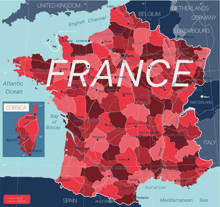 France country detailed editable map with regions cities and towns, roads and railways, geographic sites.