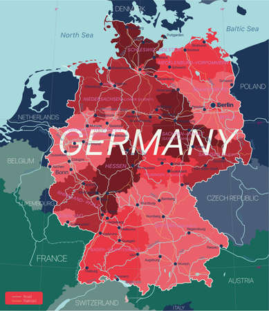Germany country detailed editable map with regions cities and towns, roads and railways, geographic sites.  イラスト・ベクター素材