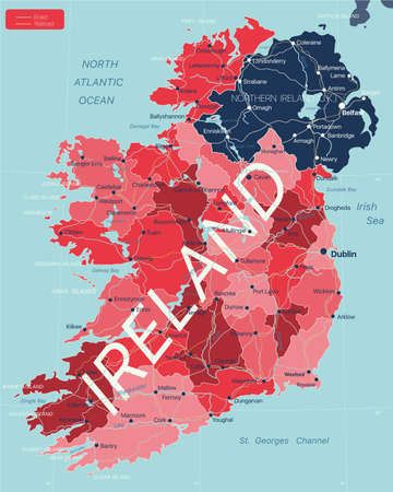 Ireland country detailed editable map with regions cities and towns, roads and railways, geographic sites.  イラスト・ベクター素材