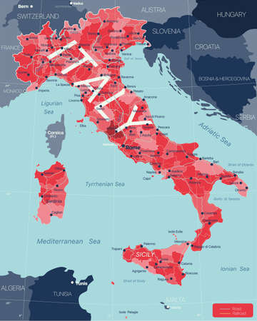 Italy country detailed editable map with regions cities and towns, roads and railways, geographic sites.