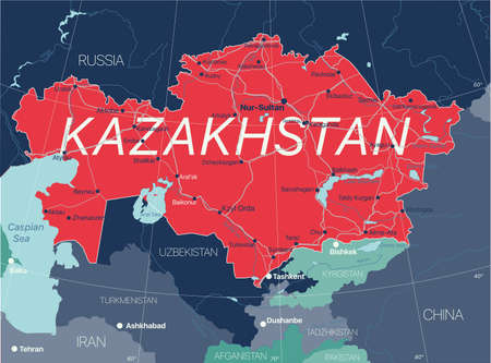 Kazakhstan country detailed editable map with regions cities and towns, roads and railways, geographic sites.