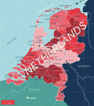 Netherlands country detailed editable map with regions cities and towns, roads and railways, geographic sites