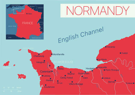 Normandy of France detailed editable map with cities and towns, geographic sites.