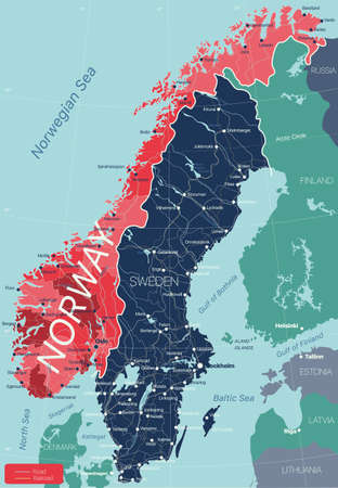 Norway country detailed editable map with regions cities and towns, roads and railways, geographic sites.