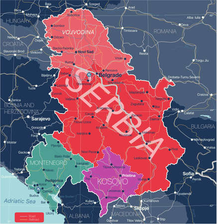 Serbia Kosovo and Montenegro countries detailed editable map with regions cities and towns, roads and railways, geographic sites.