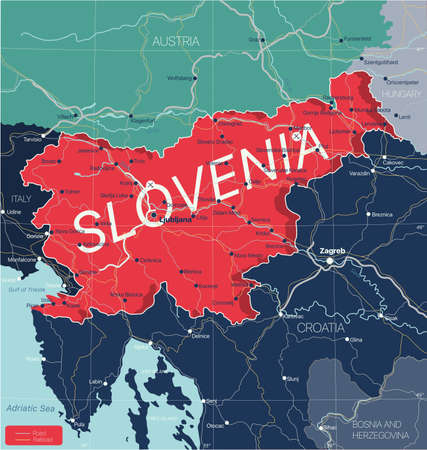 Slovenia country detailed editable map with regions cities and towns, roads and railways, geographic sites. Vektorové ilustrace