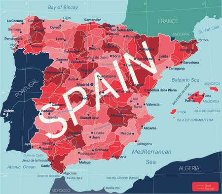 Spain country detailed editable map with regions cities and towns, roads and railways, geographic sites.