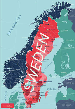 Sweden country detailed editable map with regions cities and towns, roads and railways, geographic sites. 矢量图像