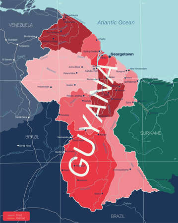 Guyana country detailed editable map with regions cities and towns, roads and railways, geographic sites.