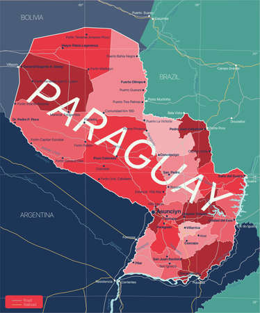 Paraguay country detailed editable map with regions cities and towns, roads and railways, geographic sites.  イラスト・ベクター素材