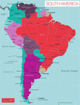 South America detailed editable map with countries capitals cities and towns, geographic sites.