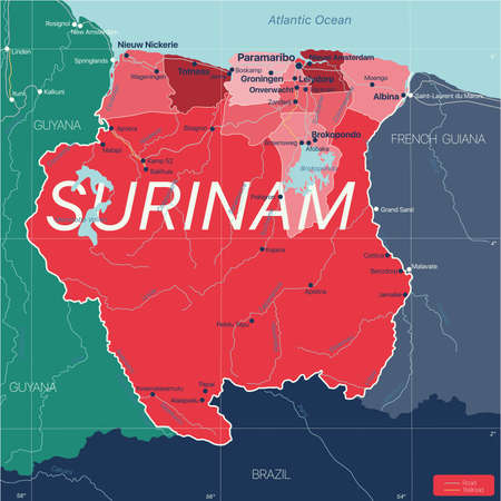 Surinam country detailed editable map with regions cities and towns, roads and railways, geographic sites.