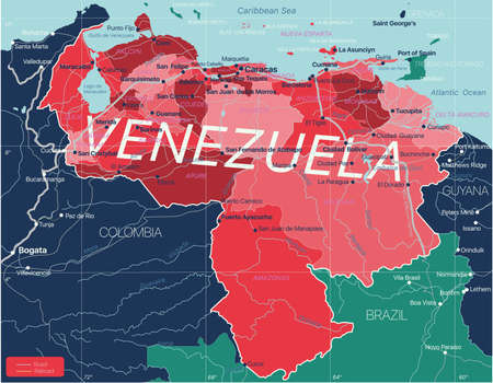 Venezuela country detailed editable map with regions cities and towns, roads and railways, geographic sites.
