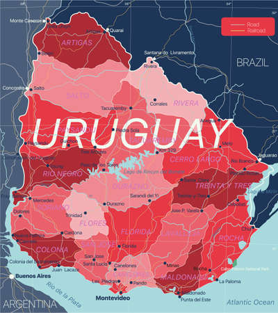 Uruguay country detailed editable map with regions cities and towns, roads and railways, geographic sites.
