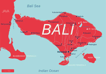 Bali country detailed editable map with regions cities and towns, roads and railways, geographic sites.  イラスト・ベクター素材