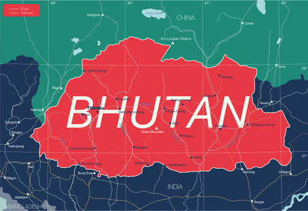 Bhutan country detailed editable map with regions cities and towns, roads and railways, geographic sites.