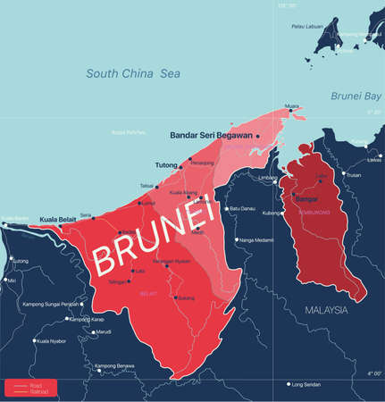 Brunei country detailed editable map with regions cities and towns, roads and railways, geographic sites.  イラスト・ベクター素材