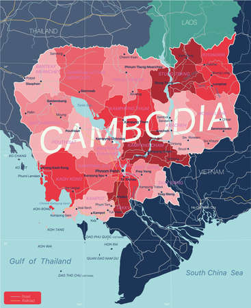 Cambodia country detailed editable map with regions cities and towns, roads and railways, geographic sites. Vector EPS-10 file