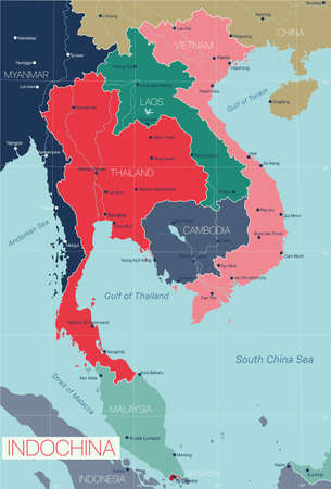Indochina detailed editable map with countries cities and towns.