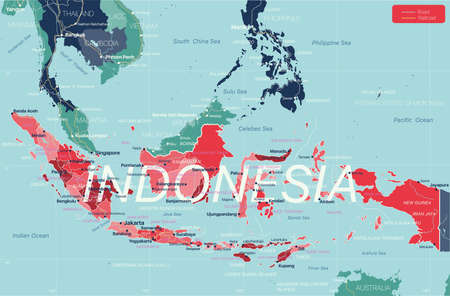 Indonesia country detailed editable map with regions cities and towns, roads and railways, geographic sites.