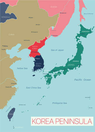 Korea peninsula detailed editable map with countries capitals and cities.