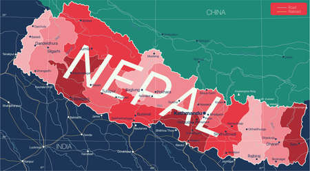 Nepal country detailed editable map with regions cities and towns, roads and railways, geographic sites. Ilustração