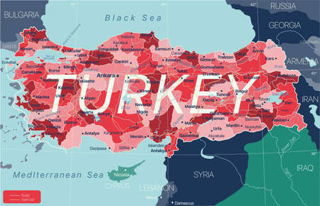 Turkey country detailed editable map with regions cities and towns, roads and railways, geographic sites. Vector EPS-10 file 矢量图像