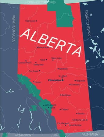Alberta province vector editable map of the Canada with capital, national borders, cities and towns, rivers and lakes.