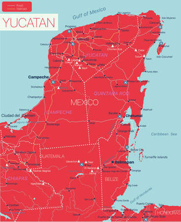 Yukatan peninsula detailed editable map with regions cities and towns, roads and railways, geographic sites. Vector EPS-10 file 向量圖像