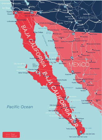 Baja California region detailed editable map with cities and towns, roads and railways, geographic sites. Vector EPS-10 file