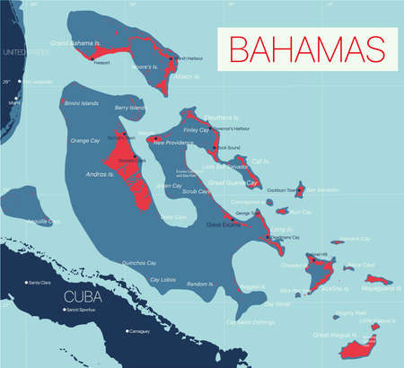 Bahamas detailed editable map with regions cities and towns, roads and railways, geographic sites. Vector EPS-10 file