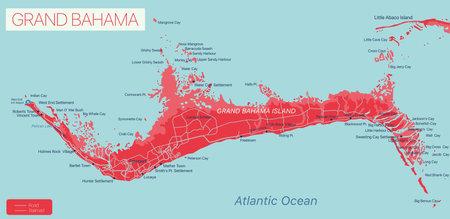 Grand Bahama island detailed editable map, vector EPS-10 file