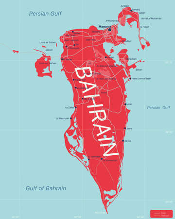 Bahrain country detailed editable map with regions cities and towns, roads and railways, geographic sites. Vector