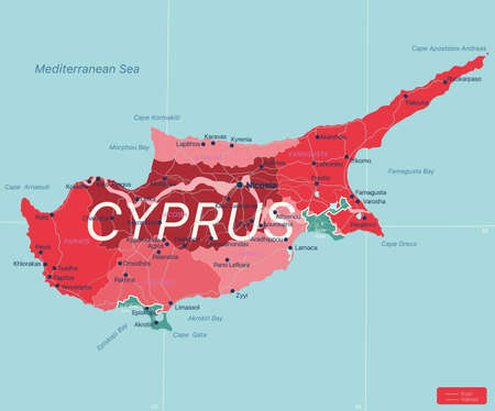 Cyprus country detailed editable map with regions cities and towns, roads and railways, geographic sites. Vector  file  イラスト・ベクター素材
