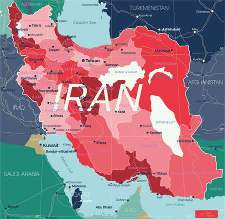 Iran country detailed editable map with regions cities and towns, roads and railways, geographic sites. Vector EPS-10 file  イラスト・ベクター素材