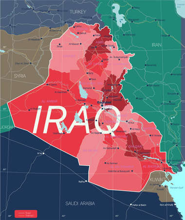 Irak country detailed editable map with regions cities and towns, roads and railways, geographic sites. Vector EPS-10 file  イラスト・ベクター素材