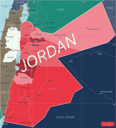 Jordan country detailed editable map with regions cities and towns, roads and railways, geographic sites. Vector EPS-10 file  イラスト・ベクター素材
