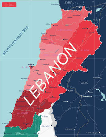 Lebanon country detailed editable map with regions cities and towns, roads and railways, geographic sites. Vector EPS-10 file