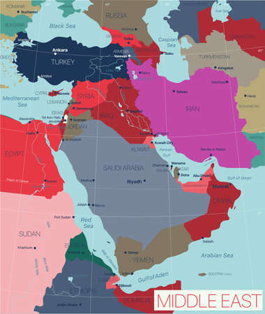 Middle East region detailed editable map with countries capitals and cities. Vector EPS-10 file