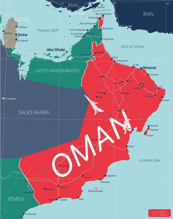 Oman country detailed editable map with regions cities and towns, roads and railways, geographic sites. Vector  file