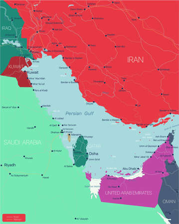 Persian Gulf region country detailed editable map with countries capitals and cities. Vector EPS-10 file  イラスト・ベクター素材