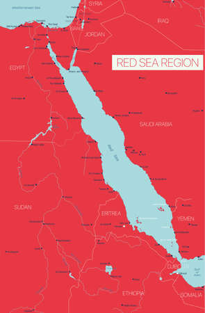 Red Sea region country detailed editable map with countries capitals and cities. Vector EPS-10 file