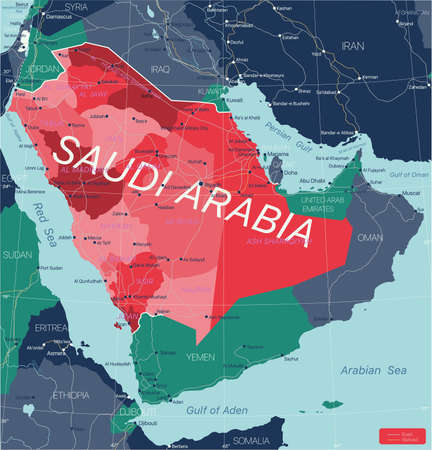 Saudi Arabia country detailed editable map with regions cities and towns, roads and railways, geographic sites. Vector EPS-10 file  イラスト・ベクター素材