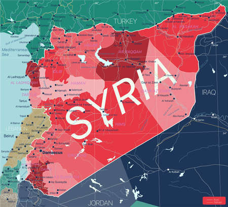 Syria country detailed editable map with regions cities and towns, roads and railways, geographic sites. Vector EPS-10 file