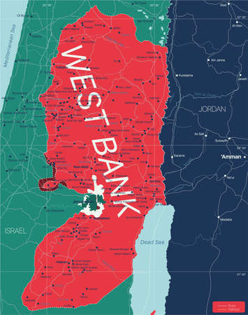 West Bank region country detailed editable map with countries capitals and cities. Vector EPS-10 file