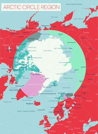 Arctic Circle Region detailed editable map with regions cities and towns, geographic sites.