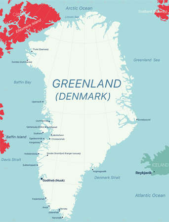 Greenland island detailed editable map with regions cities and towns, geographic sites.