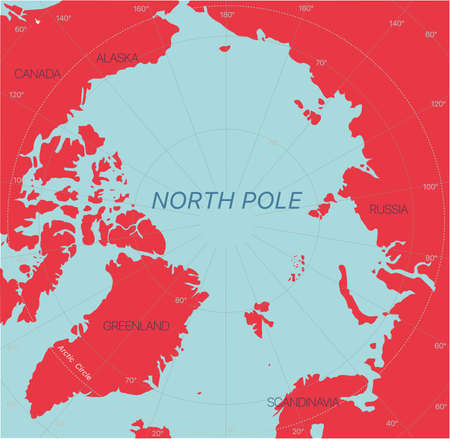 North Pole detailed editable map with regions geographic sites. Vector EPS-10 file