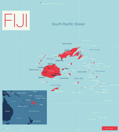 FIJI detailed editable map with regions cities and towns, roads and railways, geographic sites. Vector EPS-10 file  イラスト・ベクター素材